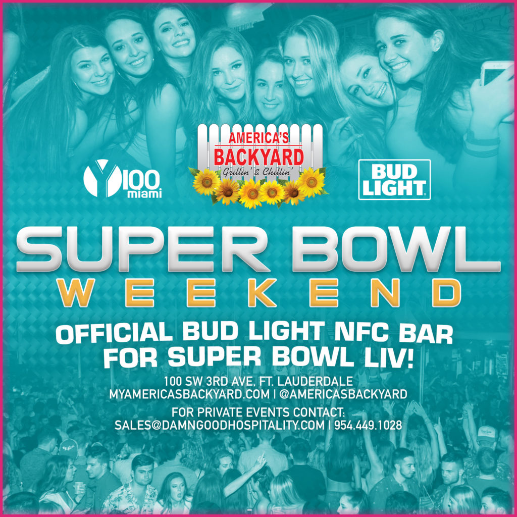 A poster about the America's Backyard Super Bowl Weekend 2020